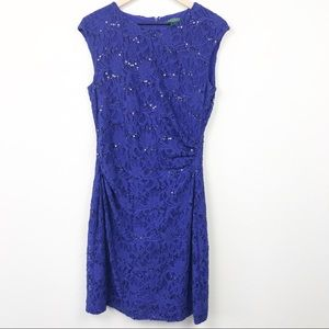 Ralph Lauren Dress Blue Sequined Lace Ruched Side